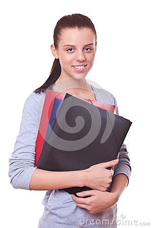 Woman manager or bookkeeper with folders