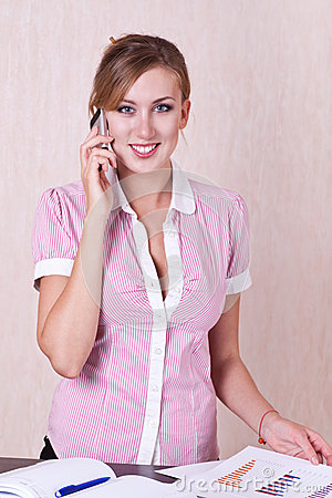 Woman Manager Speaking Phone Stock Image - Image: 27225741
