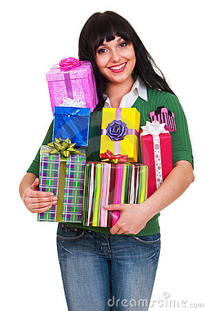 Woman with many gift boxes