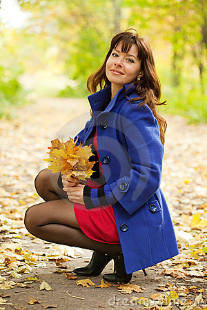 Woman with maple posy