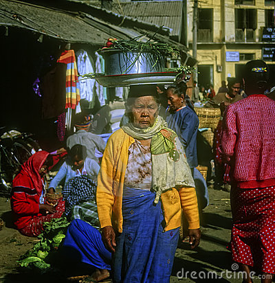 Woman in Marketplace, Yangon, Myanmar Editorial Stock Image