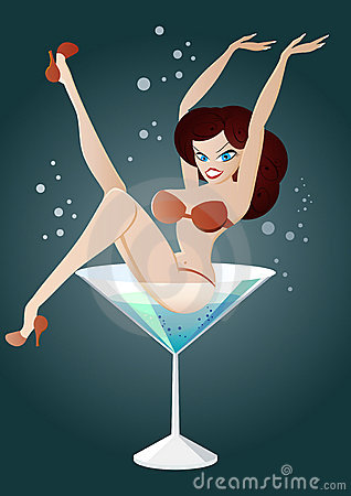 Woman in martini illustration