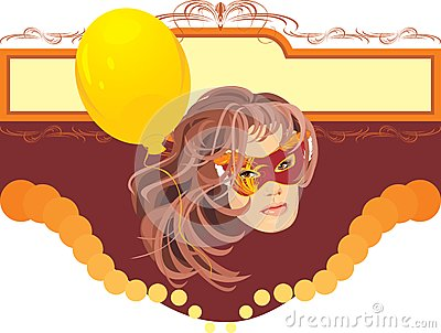 Woman in masquerade mask and yellow balloon. Card