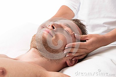 Woman massaging head