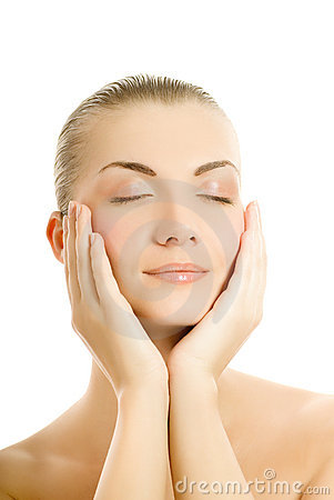 Free Woman Massaging Her Face Royalty Free Stock Images - 4827859