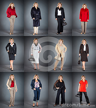 Woman at a mature age in different clothes