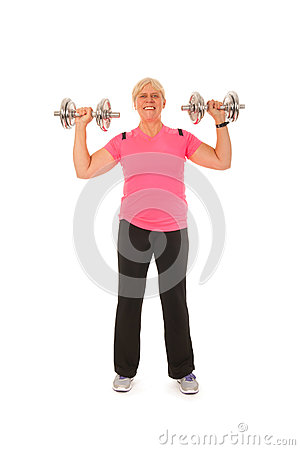 Woman of mature age lifting dumbbels