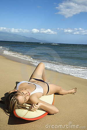 Woman on Maui beach.