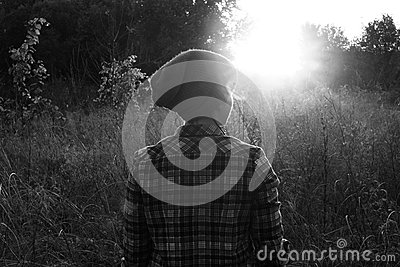 Woman In Meadow In Black And White Free Public Domain Cc0 Image