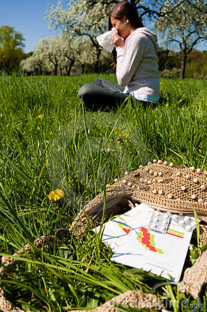 Woman meadow medicine sneeze
