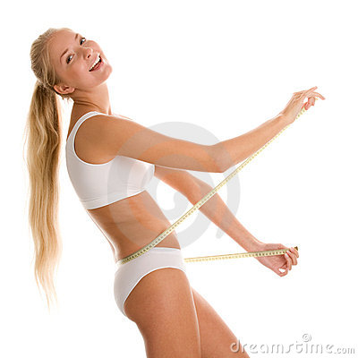 Woman with measure tape Stock Photo