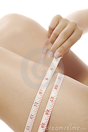 Woman measuring close-up