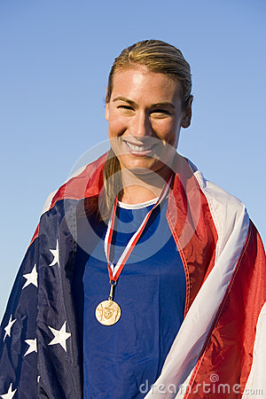 Woman With Medal Wrapped In American Flag
