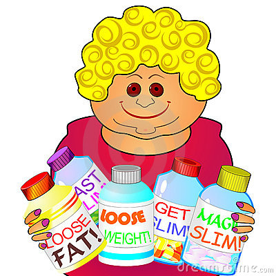 Woman and medicines for reducing weight