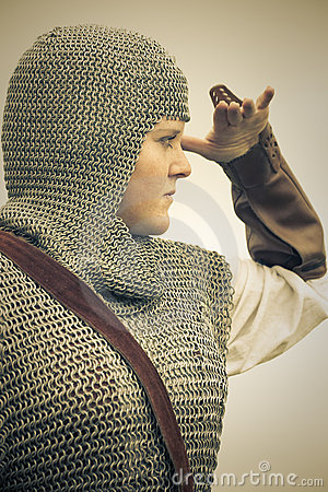 Woman / medieval armor / retro split toned
