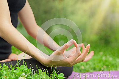 woman meditating in the lotus royalty free stock photo