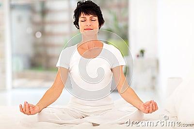 Woman meditation home