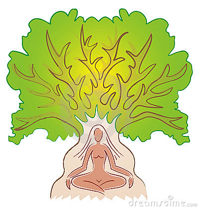 Woman in Meditation with Tree