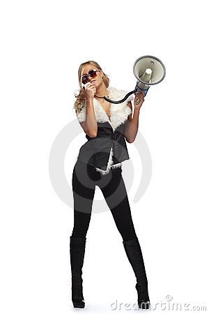 Woman with megafone