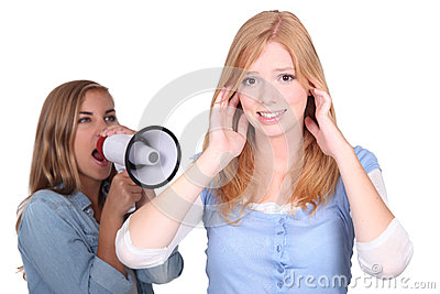 Woman with megaphone shouting