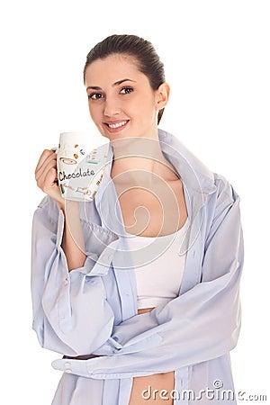 Woman men s shirt having morning coffee