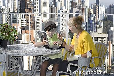 Woman Mentoring Boy - Horizontal