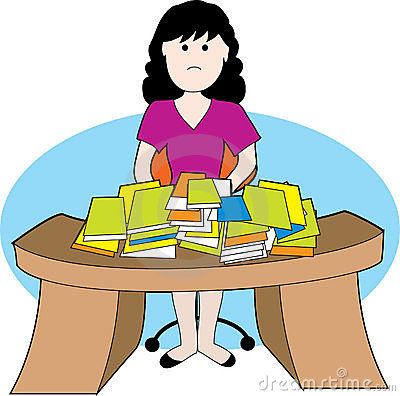 Woman with messy desk