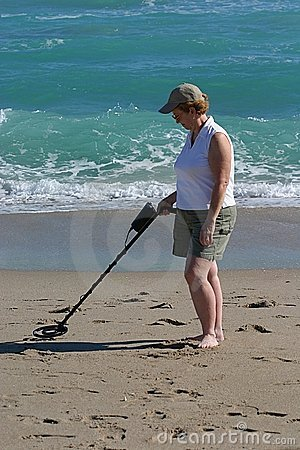 Woman with Metal Detector