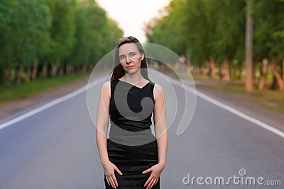 Woman in middle of the road
