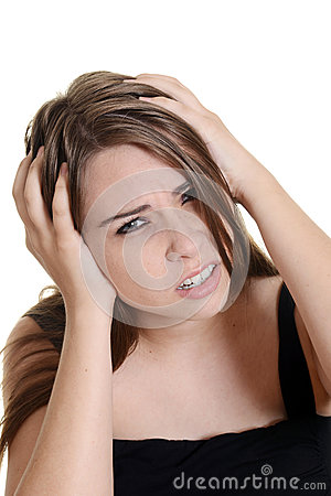 Woman with a migraine headache