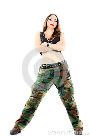 Woman in military clothes, white background