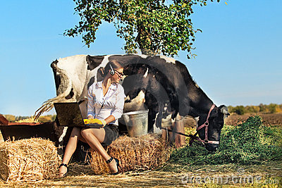 Woman milking cow