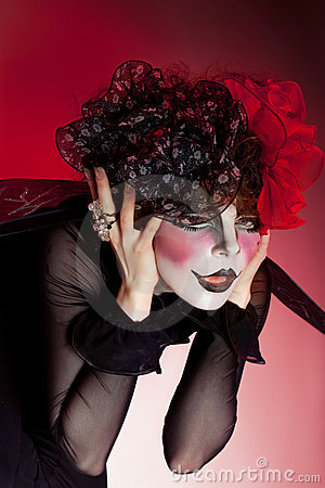 Theatre Makeup on Woman Mime With Theatrical Makeup Stock Photo   Image  22476990