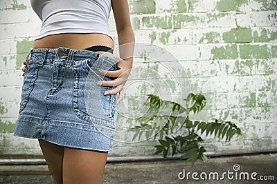 Woman in mini skirt.