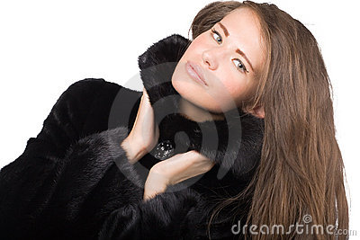 Woman in mink coat