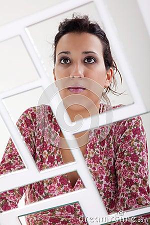 Woman on mirror, broken