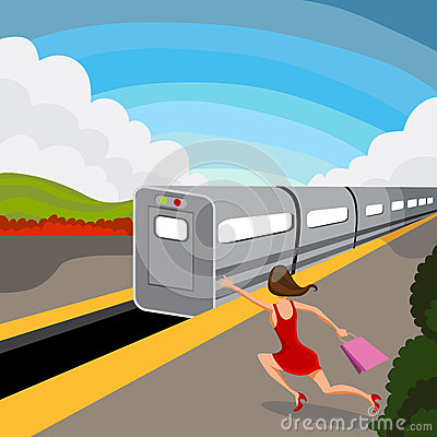 woman misses train stock vector image 42274661