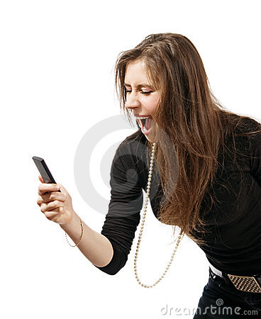 Woman with mobile phone yelling