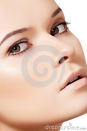 Woman model face, clean skin. Wellness & skincare
