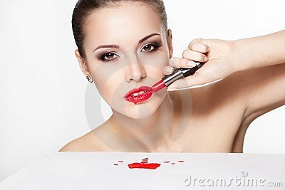 Woman model with glamour red lips