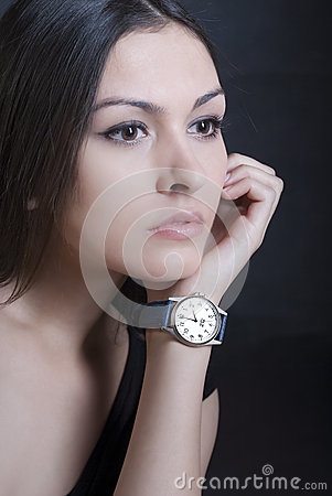 Woman model with watch