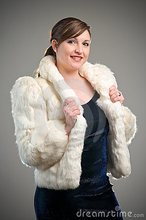 Woman Model wearing White Fur Jacket