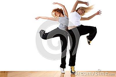 Woman modern sport ballet dancers