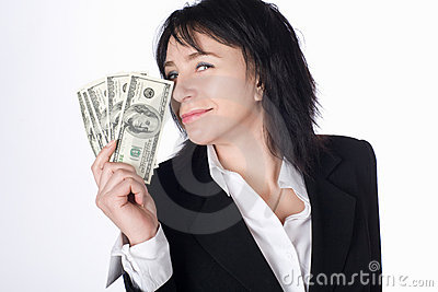 Woman with money .