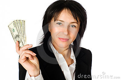 Woman with money. Big winner.