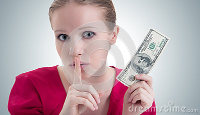 Woman with money, dollars  says