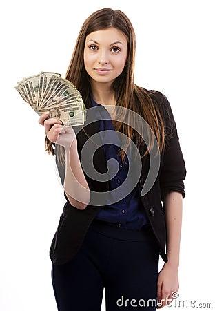 Woman with a money fan