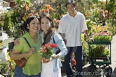 Woman with mother in plant nursery