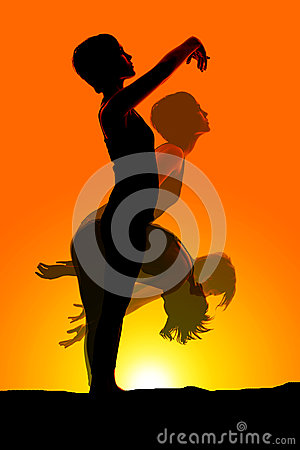 Woman motion dancing silhouette