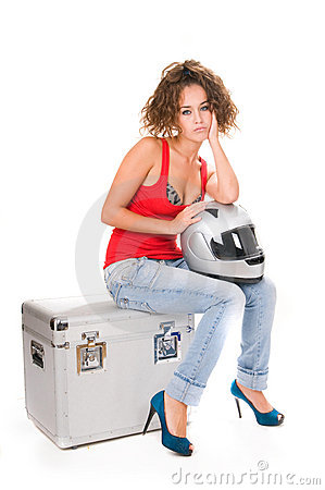 Woman moto sitting with helmet